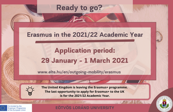 First call for application: Erasmus+ Scholarship for studies and traineeship for the 2021/22 Academic Year