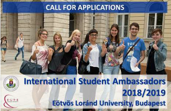 ELTE International Student Ambassadors 2018/2019 CALL FOR APPLICATIONS