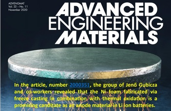ELTE-s kutatók eredményei az Advanced Engineering Materials címlapján