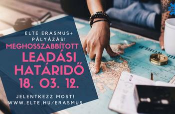 Erasmus+ kiegészítő támogatás - ÚJ HATÁRIDŐ