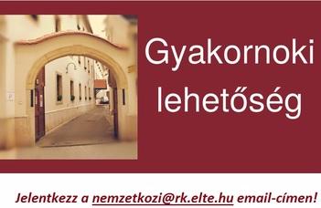 Gyakornoki lehetőség az ELTE Rektori Kabinet Nemzetközi Irodájában